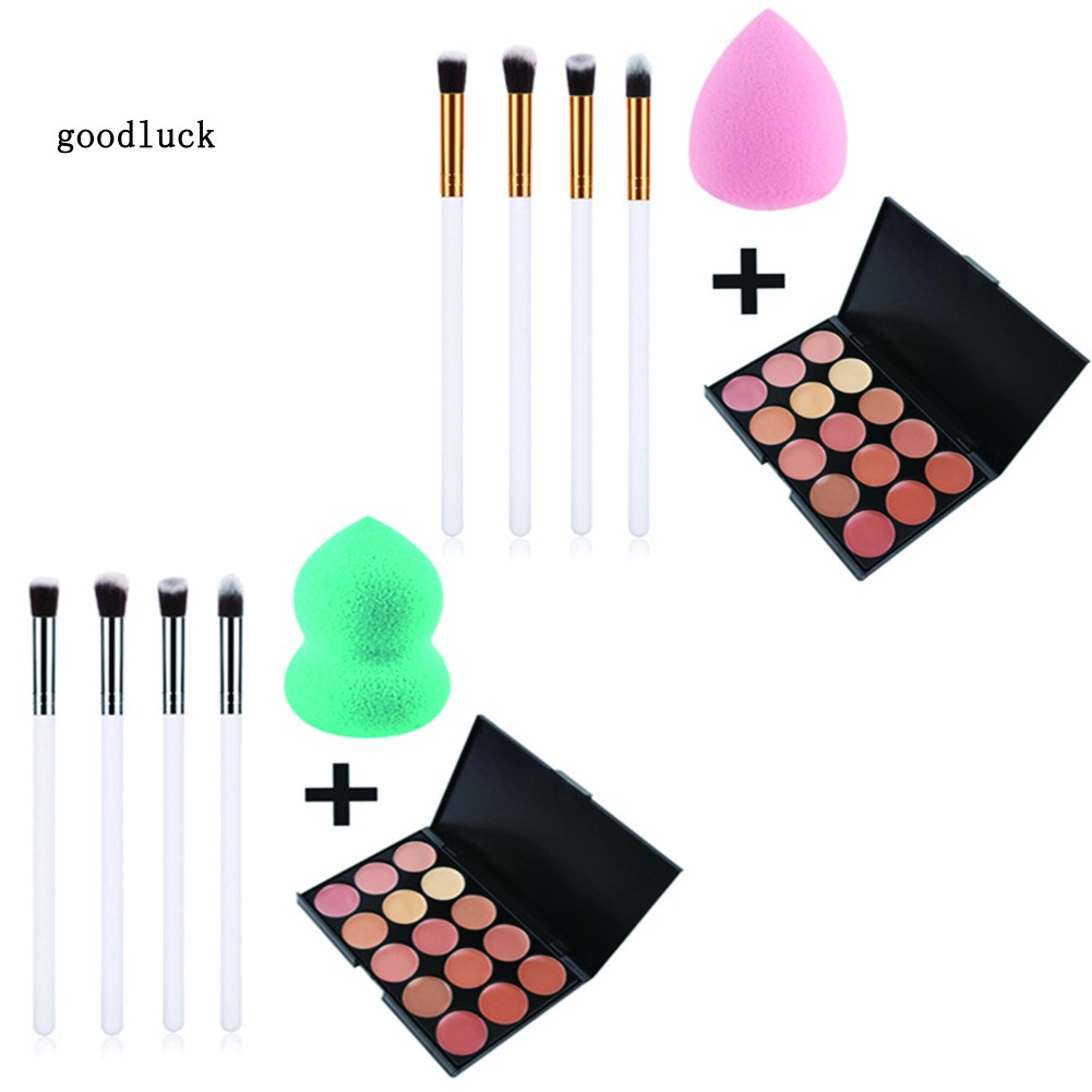 GLK_Dark Spots Blemish Cover Face Concealer Cream Makeup Brushes Powder Puff Set