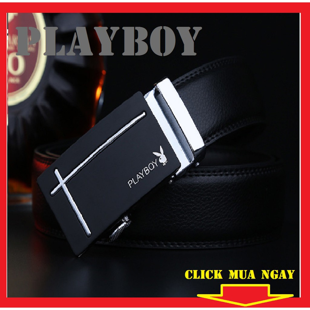 (FULL HỘP) Thắt Lưng Da Nam Khóa Tự Động Cao Cấp Dây Nịt Nam Da Bò Chính Hãng Playboy Dây 2 Da May Viền 2 Bên TLO3/DEP