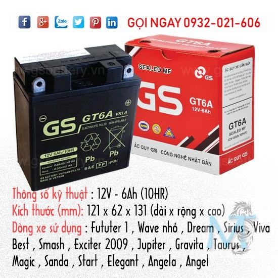 Bình ắc quy GS GT6A - Bảo hành chính hãng 6 tháng - 3400378 , 1122547905 , 322_1122547905 , 377000 , Binh-ac-quy-GS-GT6A-Bao-hanh-chinh-hang-6-thang-322_1122547905 , shopee.vn , Bình ắc quy GS GT6A - Bảo hành chính hãng 6 tháng