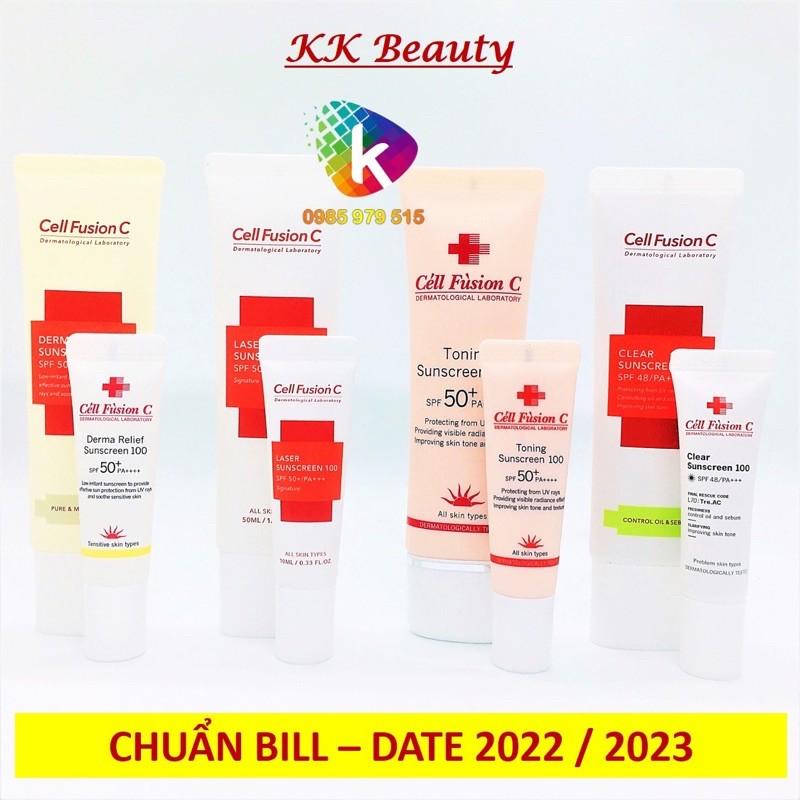 (Đủ Bill) Kem chống nắng Cell Fusion C Laser / Clear / Toning Suncreen Đỏ / Xanh