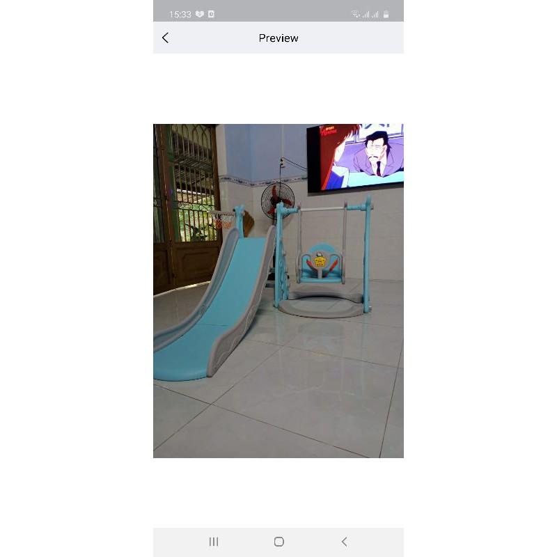 re0642 Cầu trượt cho trẻ kèm xích du nhựa nguyên sinh - Cầu trượt cho trẻ