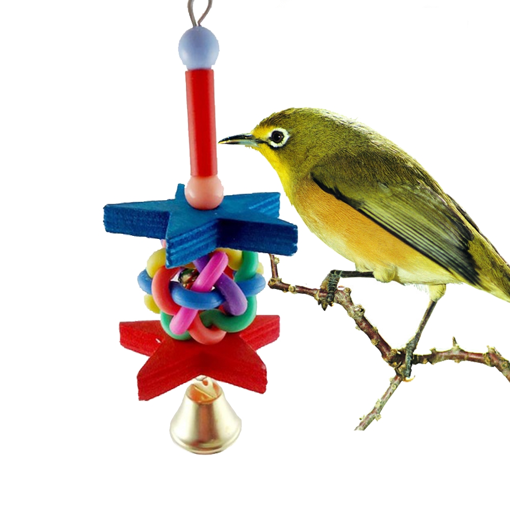 Colorful Pet Bird cockatoo Bites Chew Toy Swing Parrot Cage Wooden Toys with Bells Size 19 cm