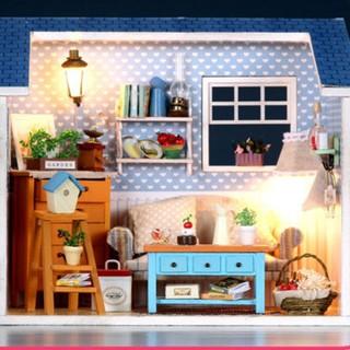 Mô hình nhà búp bê gỗ – Mô hình nhà với căn phòng khách màu xanh xinh xắn (N10-A)