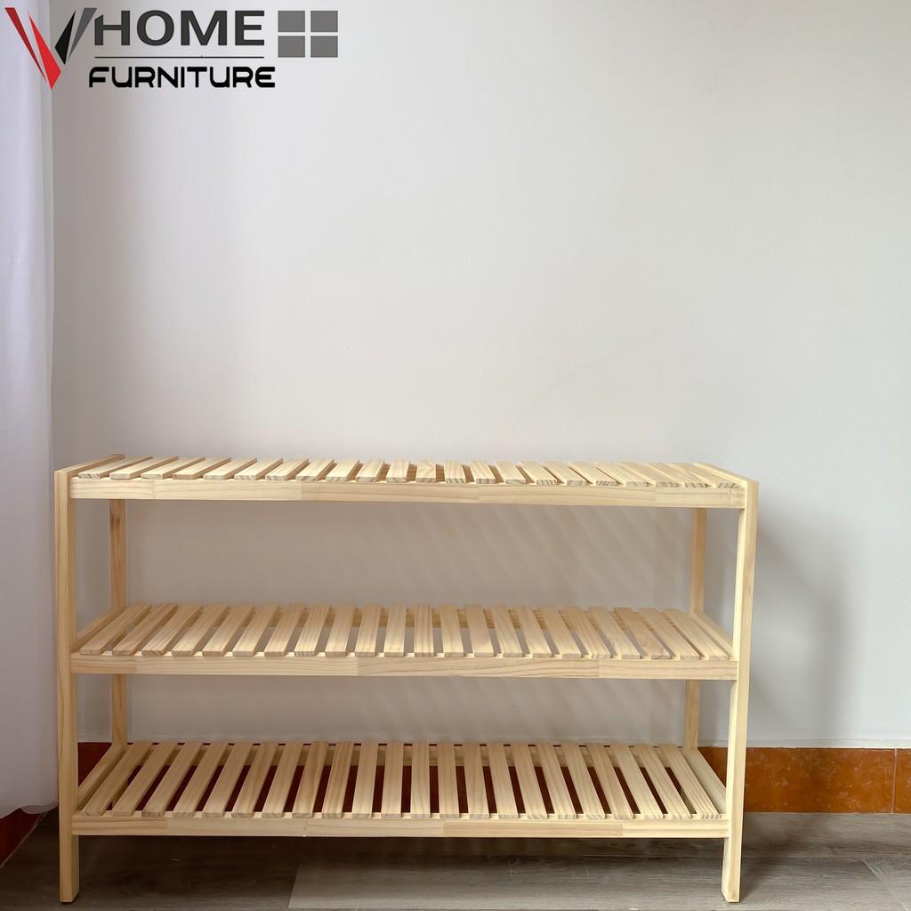 Kệ Giầy Dép Đa Năng Gỗ Thông VHOME Furniture 3 Tầng x 100cm Nội Thất Lắp Ráp