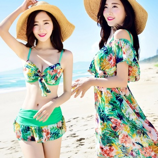 bikiniChia Đồ Bơi Nữ Bikini Ba Mảnh Bao Gồm Tấm Thép Mỏng Ngực Nhỏ Thu Thập Đồ Tắm Suối Nước Nóng
