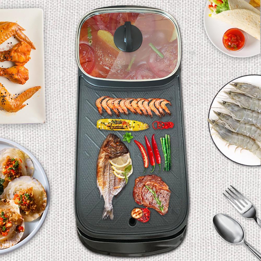 Bếp lẩu nướng 2 in 1, bếp nướng lẩu điện 2 ngăn đa năng mini, nồi lẩu điện mini đa năng 2 ngăn chống dính thế hệ mới