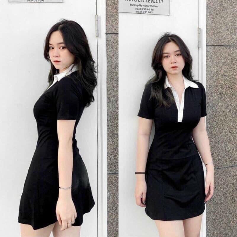 Mặc gì đẹp: Siêu xinh với Đầm polo body đen cổ vest trắng tay ngắn xinh yêu, váy polo đi dự tiệc, đi chơi dạo phố, đi bar sang chảnh có big size