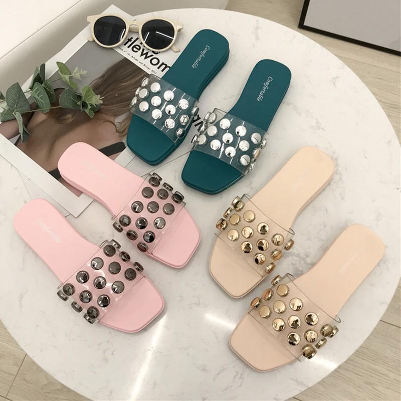 Slippers female summer wear 2019 new Korean version of the wild flat-bottom fema