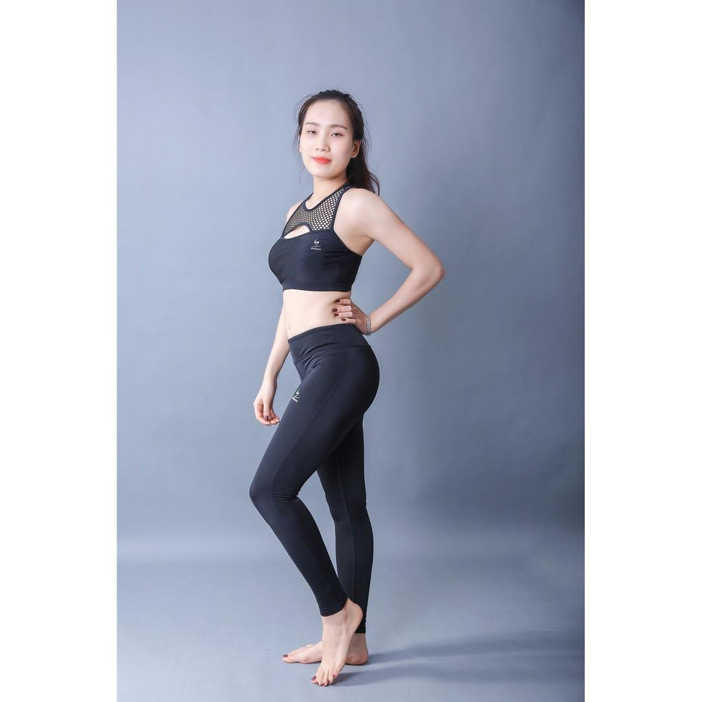 áo bra đen phối lưới tập luyện Yoga Fitness cao cấp Shakano