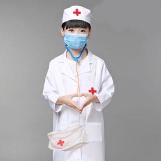 Áo Bác Sĩ Cho Bé Tập Làm Bác Sĩ ( Tay Ngắn )