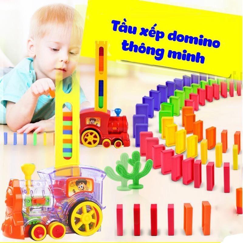 [XẢ KHO] Đồ chơi Tàu hoả xếp domino cho bé [HOT SALE] mẫu mới, an toàn, thú vị TẶNG KÈM PIN VÀ SMILE TINH QUÁI