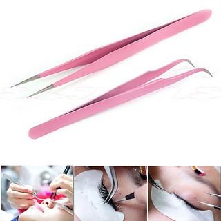 Nhíp đầu cong gắp lông mi giả màu hồng và cong thumbnail