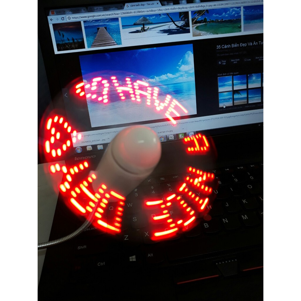 QUẠT USB ĐÈN LED THÔNG ĐIỆP ♥ I LOVE YOU ♥