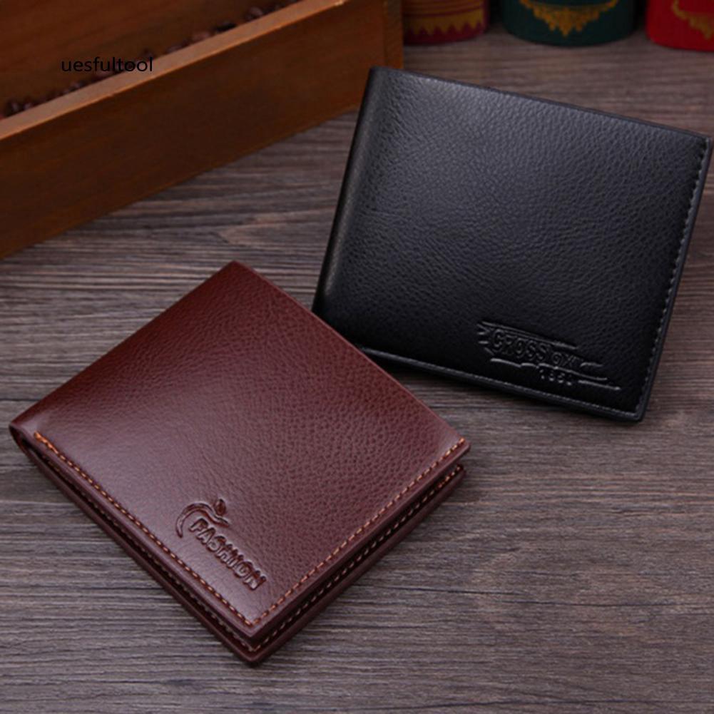 ღues_Men Fashion Faux Leather Business Bifold Short Wallet Card Holder Clutch Purse
