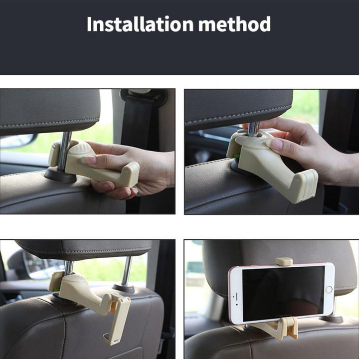 1 chiếc móc treo đồ dành cho ghế sau, kiêm giá đỡ điện thoại đa năng trên ô tô: Mã CS-G01