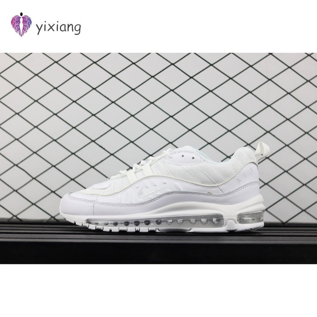 Nike Air Max 98 Triple รองเท้าผ้าใบสีขาวสีขาว / Pure Platinum-สีดำ