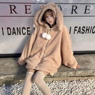 [ORDER] Áo khoác có nón vải bông ấm tay dài tai thỏ cute ulzzang