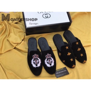 Giày Sục nam thời trang 2019 – Chất liệu nỉ nhung thêu logo (Ảnh thật – FREESHIP) , Mã: SN06