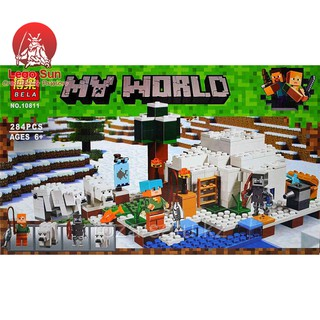 Lego minecraft Bela 10811 sinh tồn tại vùng cực bắc 284 khối