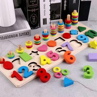 Bộ đồ chơi chữ số và hình học để dạy cho trẻ