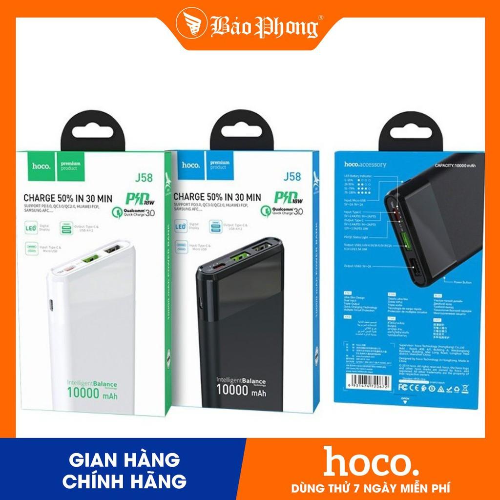 Pin dự phòng Hoco J58 10000 mAh Sạc Nhanh PD & QC3.0 Dành cho điện thoại  iPhone iP Huawei Samsung Oppo Realme - Pin sạc dự phòng di động Thương hiệu  hoco.