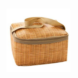 serda New Imitation Rattan Plaited Lunch Bag Thickened Waterproof Thermal Insulation Bags