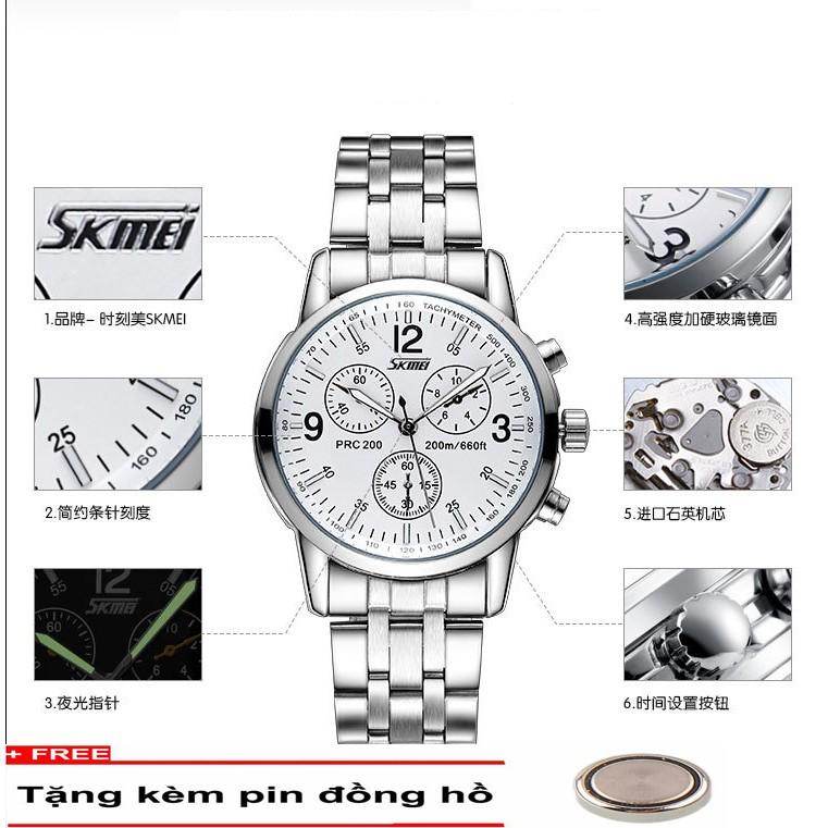 Đồng hồ nam dây thép không gỉ SKMEI 9070 mã sk9070T