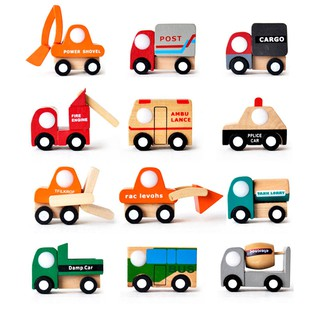 MYHOMEVER Mini Vehicle Car Wooden Toys Baby Kids Early Learning Educational Development