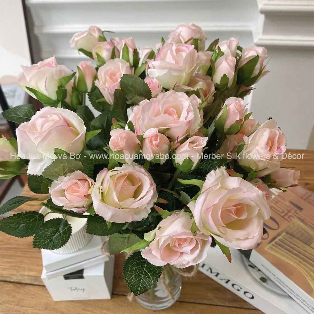 Cành hồng lụa 3 bông 2 nụ cao cấp (Ảnh và video thật)