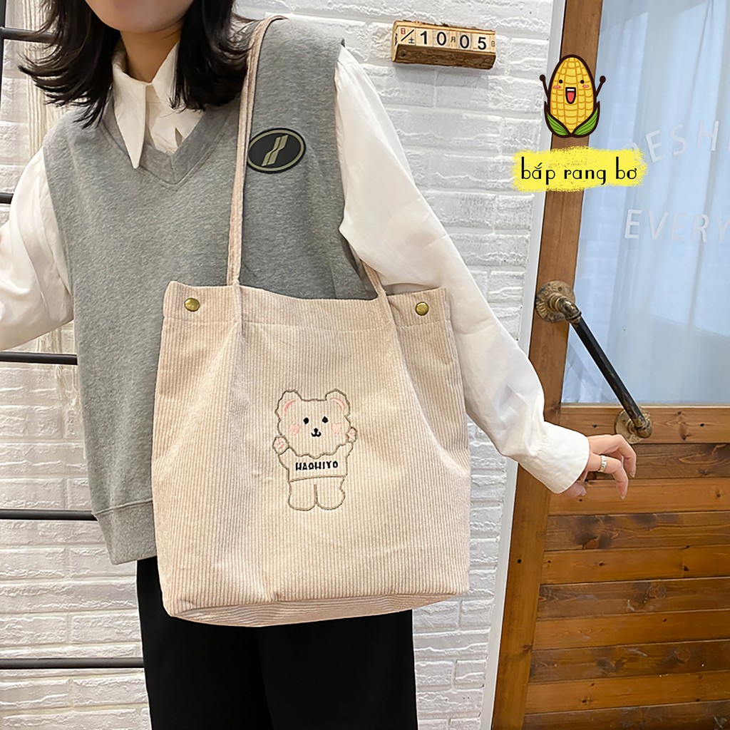 Túi Vải Nhung Đeo Vai Hình Gấu  Ba Màu So Cutie🦋 Túi Tote Họa Tiết Gấu Đáng Yêu