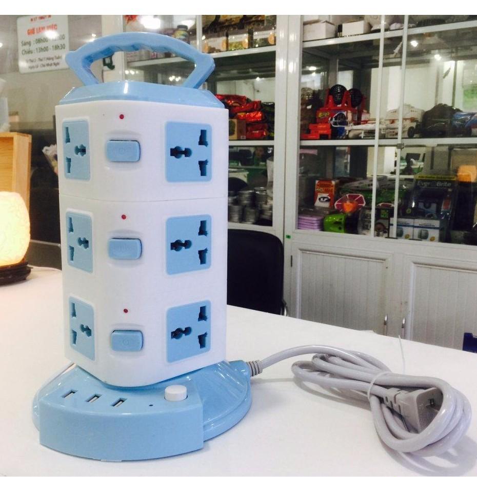 Ổ Cắm Điện 3 Tầng CX-312 Hỗ trợ 3 Cổng USB, 12 Ổ Cắm An Toàn, Dài 1m8