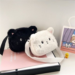 Túi Đeo Chéo Mặt Mèo Xinh Xắn Lông Mềm Mịn Được Các Bạn Trẻ Và Các Bé Yêu Thích 7