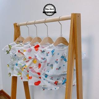 Bộ Cotton giấy cài vai cho bé trai bé gái sơ sinh từ 4kg-15kg, giao màu ngẫu nhiên thumbnail