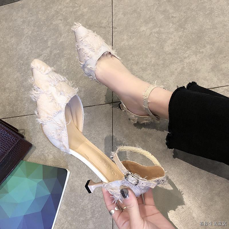 Giày Cao Gót Mũi Nhọn Phối Khóa Cài Thời Trang Dành Cho Nữ 2021