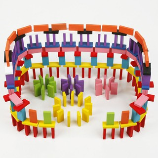 120 Pcs Wooden Toys Colorful Dominoes Kids Educational Intelligence Develop. Toy