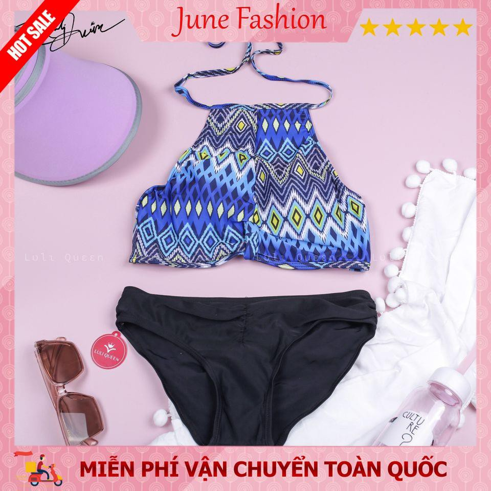 Bikini 2 mảnh yếm xanh 💝[FREESHIP]💝 Đồ bơi nữ hai dây quần cạp cao