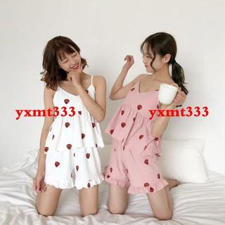 Bộ Đồ Ngủ Hai Dây In Họa Tiết Dâu Tây Xinh Xắn Theo Phong Cách Hàn Quốc Dành Cho Nữ / Size M-2xl
