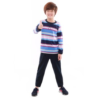 Bộ quần áo bé trai Narsis KE9059 cổ tròn màu kẻ xanh da trời tím nhạt