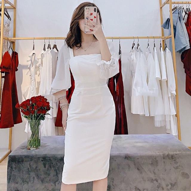 Đầm body 🌷Đầm body trắng tay voan 🌷FREESHIP