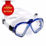 Mặt nạ lặn gắn được Gopro SJCAM mắt KÍNH CƯỜNG LỰC (Gopro Xanh) POPO Collection