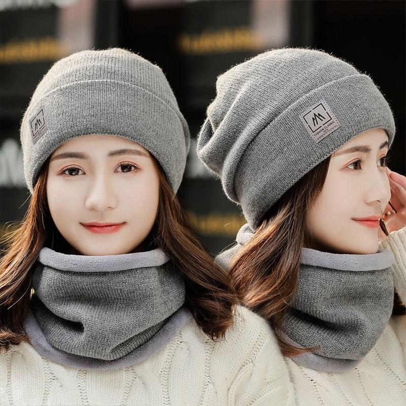 Mũ Len Trùm Đầu Kèm Khăn Khẩu Trang Cho Nam Nữ Chống Lạnh Giữ Ấm Cho Mùa Đông