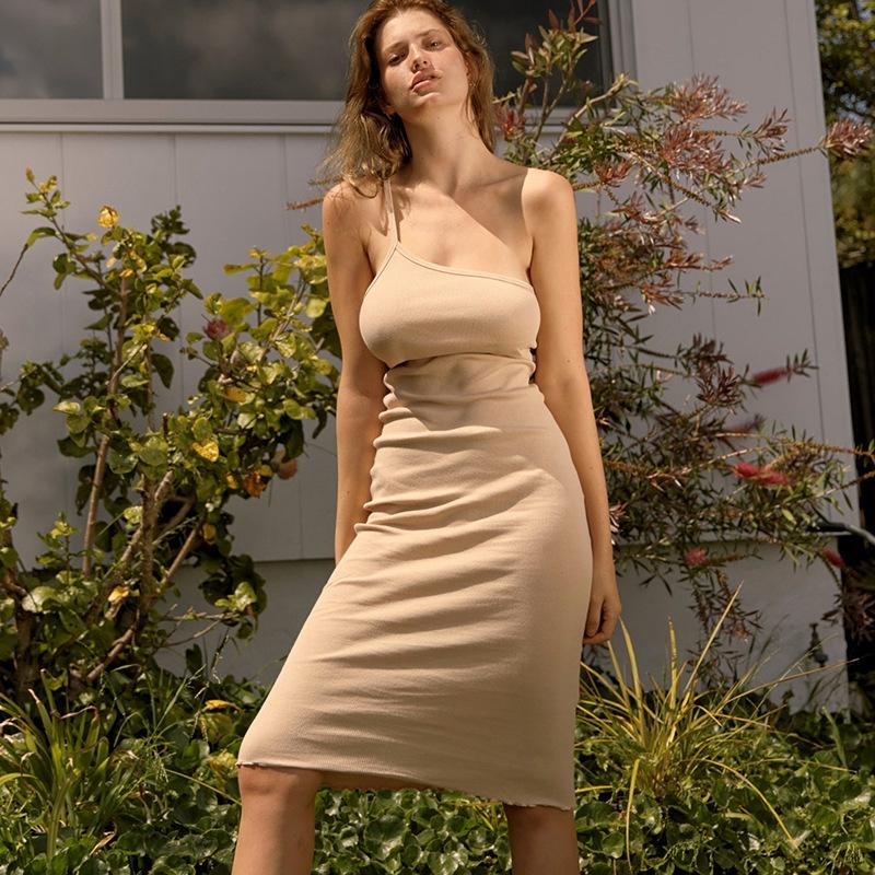 ❆☉❆Women One Shoulder Bodycon Sleeveless Dress