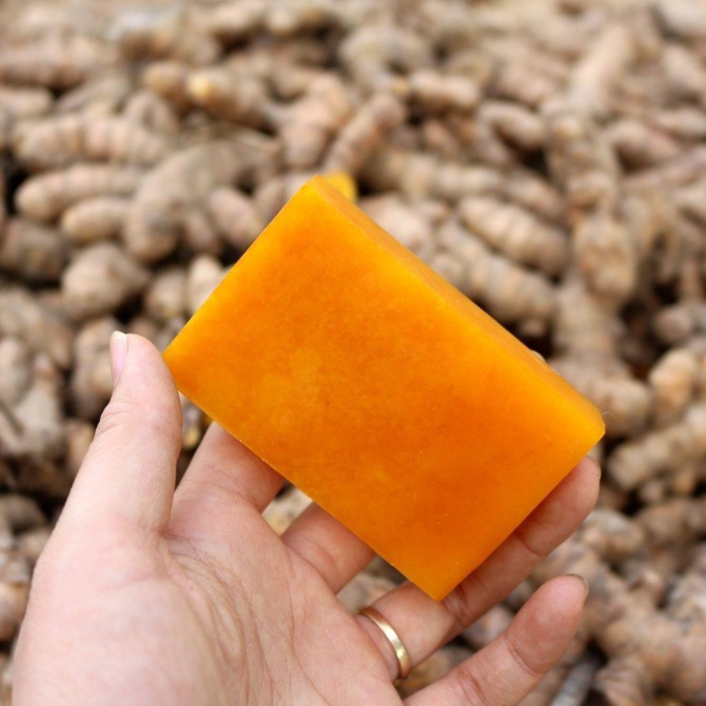 Xà Bông Nghệ Mật Ong (Nghệ Cam Mật Ong) Dưỡng Sáng Da, Ngừa Thâm Hiệu Quả tặng kèm túi tạo bọt