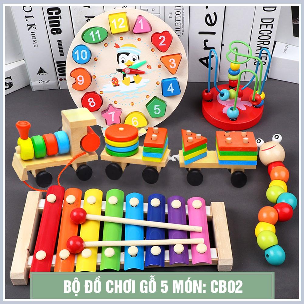 Combo ĐỒ CHƠI Gỗ nhiều món phát triển trí tuệ, nhận biết màu sắc cho bé