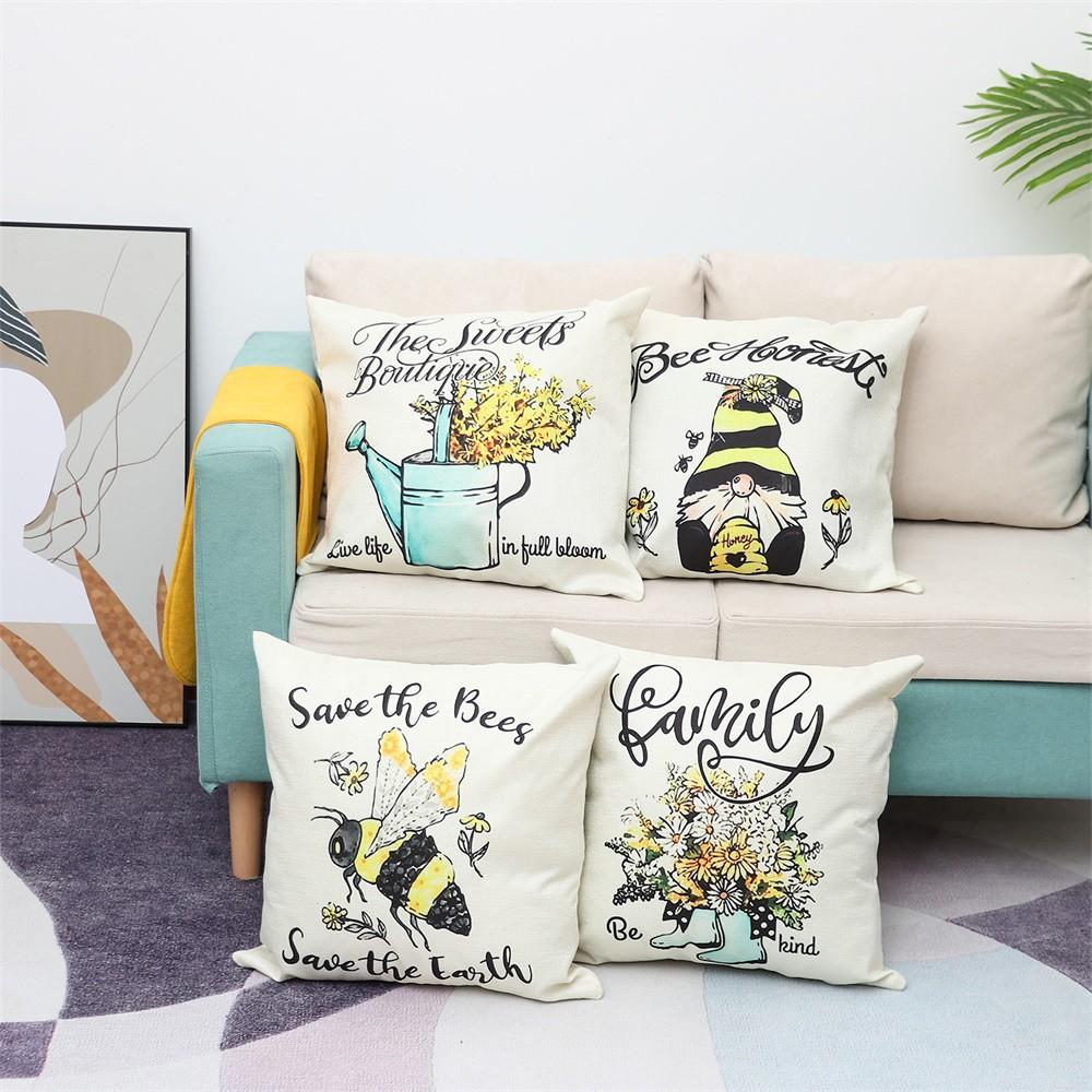Vỏ Bọc Gối Sofa In Hình Chú Ong Thời Trang Trang Trí Nhà Cửa