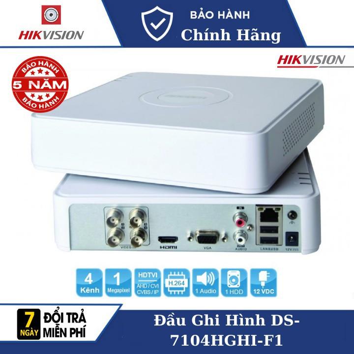 Đầu Ghi Camera Hikvision DS-7104HGHI-F1 , Cổng xuất hình ảnh HDMI & VGA 1080P đồng thời , Hỗ trợ 1 ổ cứng (tối đa 6TB/ổ)