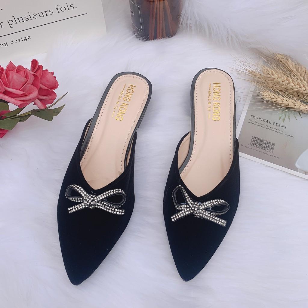 Giày sục nữ hè 2021 đính kèm nơ đá xinh hottrend