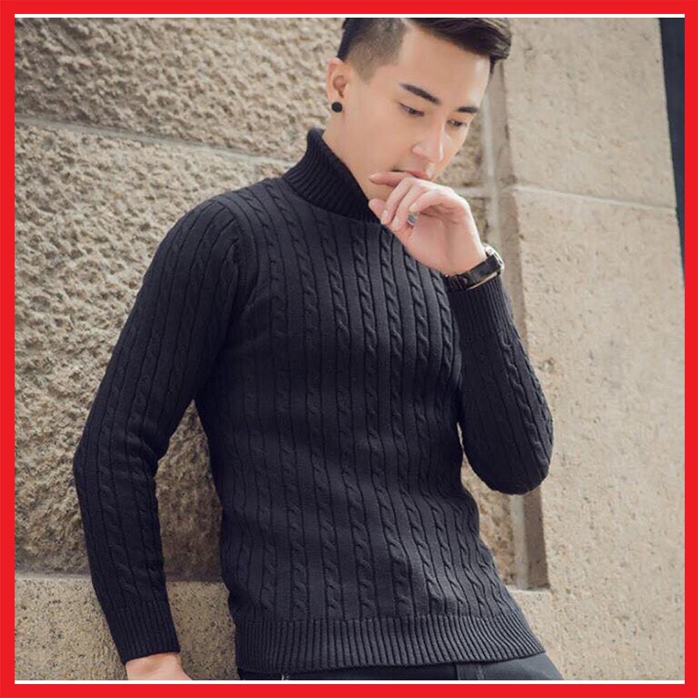 Áo len thừng dày cổ lọ nam màu đen - Len cao cổ ấm áp cho mùa đông