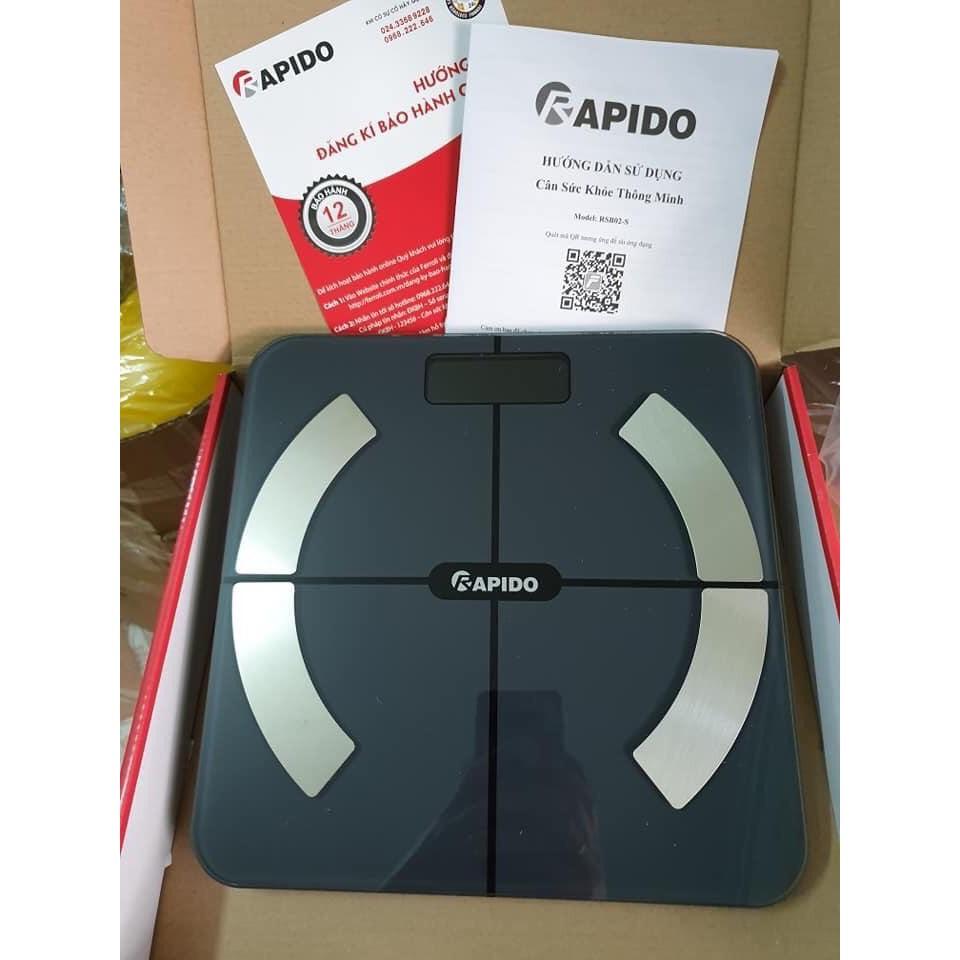 Cân sức khỏe thông minh Rapido RSB02-S (Có bluetooth)- Tặng kèm pin