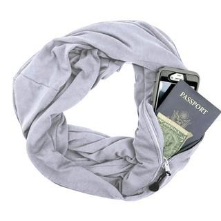 Autumn Winter Solid Color Couple Warm Scarf Zipper Storage Convenient Pocket